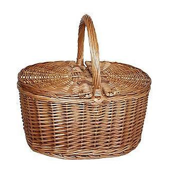 Light Steamed Oval Lidded Picnic Basket