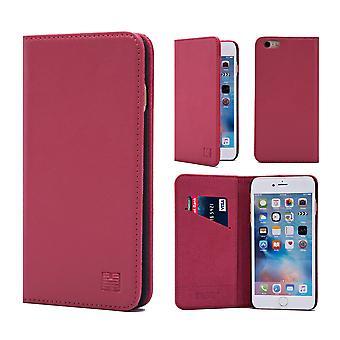 32nd klassiska äkta läder plånbok för Apple iPhone 6 Plus -rosa