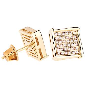 Iced out bling micro pave earrings - NOOK 10 mm gold