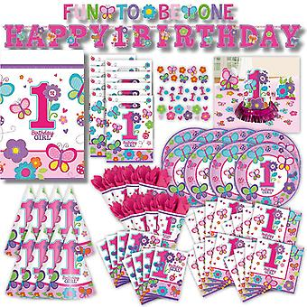 First birthday 1 girl toddler party set XL 93-teilig for 8 guests fun to be one decorative party package