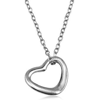 TRIXES Silver Look Open Love Heart Pendant & Chain Necklace