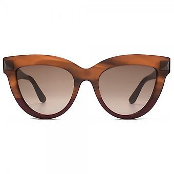 Valentino Super Stud Cateye Sunlgasses In Striped Brown Scarlet