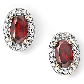 9Ct White Gold And Gold With Ruby And Diamond Earring