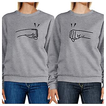 Fists Pound Unisex Grey Crewneck BFF Matching Sweatshirts For Her