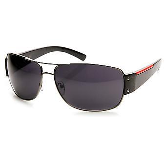 Modern Fashion Active Sport Red Stripe Metal Aviator Sunglasses