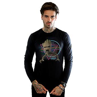 Marvel Guardiani uomo della Galaxy Neon Groot a manica lunga t-shirt