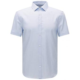 Hugo Boss Black Textured Jats Short Sleeve Slim Fit Light Blue Shirt