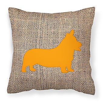 Corgi Burlap and Orange   Canvas Fabric Decorative Pillow BB1069