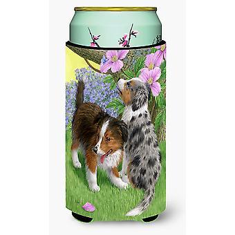 Sheltie cachorros chico alto bebidas aislador Hugger