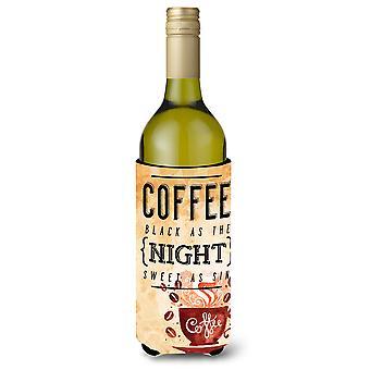 Czarna kawa znak butelka wina Beverge izolator Hugger