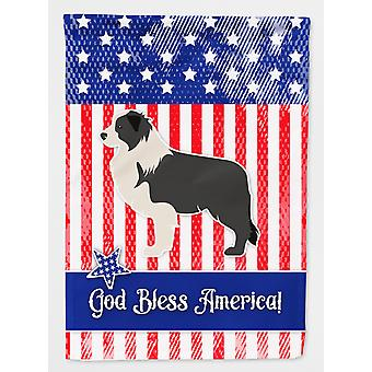 Carolines Treasures  BB3323GF USA Patriotic Black Border Collie Flag Garden Size