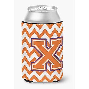 Letter X Chevron Orange and Regalia Can or Bottle Hugger
