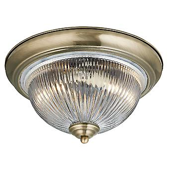 Searchlight 4370 American Diner IP44 Flush Ceiling Light Antique Brass