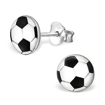 Football - 925 Sterling Silver Colourful Ear Studs