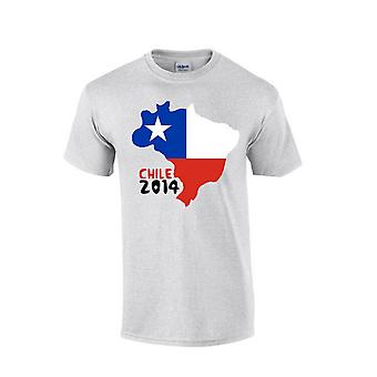 Country Flag T-shirt van Chili 2014 (grijs)