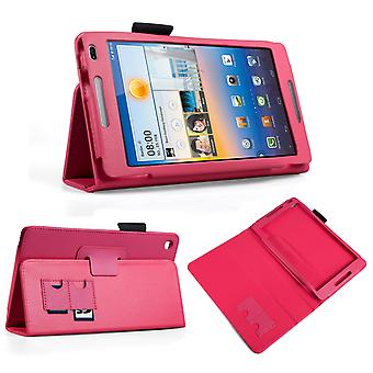 Huawei Mediapad M1 Textured Leather-Effect Stand Case Hot Pink