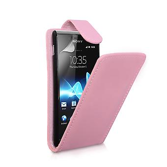 Yousave Accessories Sony Xperia J Leather-Effect Flip Case - Baby Pink