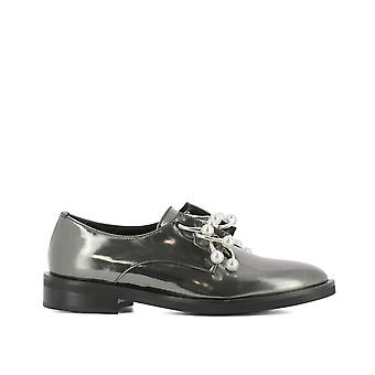 Coliac women's CL514GREY silver leather lace-up shoes
