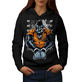 Monkey Ape Prison Women BlackHoodie | Wellcoda