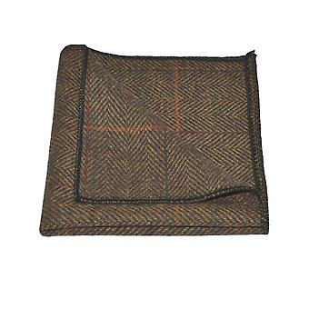 Luxe Dijon Herringbone Check zak plein, zakdoek, Tweed