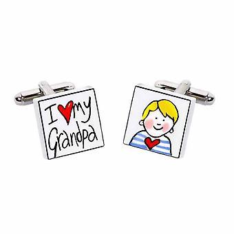Sonia Spencer I Love my Grandpa - Blonde Boy Cufflinks - English Bone China Hand Crafted Cuff Links