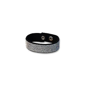 Sort læder armbånd og Swarovski elementer krystal