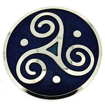 Broscher butik runda Celtic Triskele brosch blå emalj & Silver