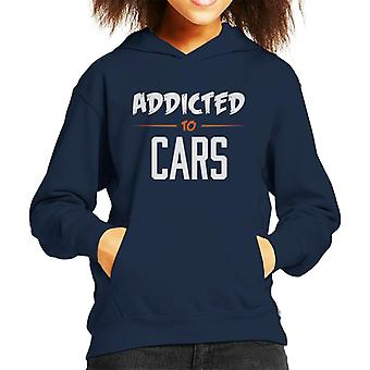 Addicted To Cars Scratchy Text Kid's Hooded Sweatshirt