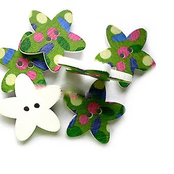 Packet 5 x Multicolour Wood 23mm Star 2-Holed Patterned Sew On Buttons HA14395