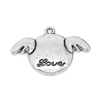 Packet 6 x Antique Silver Tibetan 28mm Love Charm/Pendant ZX13250