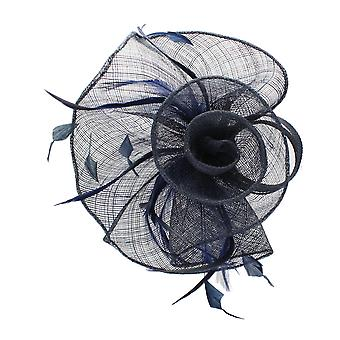 Navy Fascinator on Headband/ Clip-in for Weddings, Races and Occasions-7149