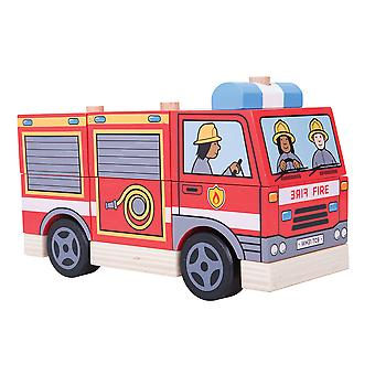 Bigjigs Toys Wooden Stacking Stacker Fire Engine Vehicle Toy