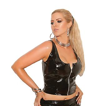 Sexy Plus Size Zip Front Shiny Vinyl Lingerie Top
