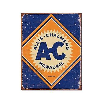 Allis Chalmers Logo Weathered Metal Sign