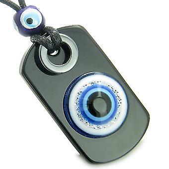 Amulet Evil Eye ReflectiProtection Powers Spiritual Dog Tag Black Onyx Hematite Pendant Necklace