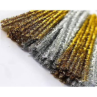 8mm Gold & Silver Tinsel Extra Long 50cm Pipe Cleaners - 50pk | Chenille Stems