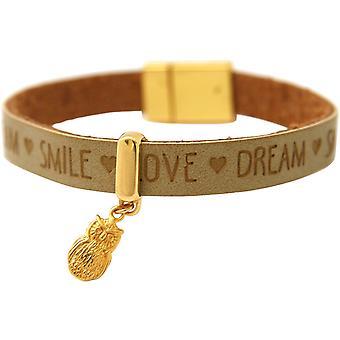 Gemshine - damer - guldpläterad armband - UHU - - önskemål - brun sand - magnetlås