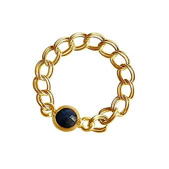 Gemshine - women's - ring - gold plated - sapphire - blue - mobile - smooth