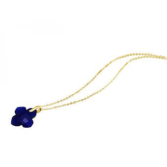 Necklace - pendants - gold plated 925 Silver - chalcedony - blue - 2.5 cm