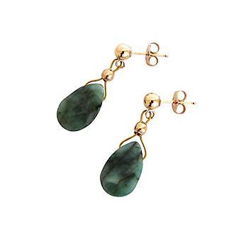 Dames oorbellen emerald groen drop smaragden emerald oorbellen verguld