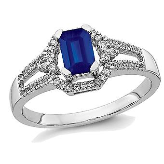 1/2 Carat (ctw) Natural Blue Sapphire Ring in 14K White Gold with Diamonds 1/6 Carat (ctw)