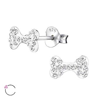 Dog Bone crystal from Swarovski® - 925 Sterling Silver Children's Ear Studs