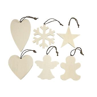 SALE - 6 Wooden Hanging Christmas Ornaments - 9cm to 11cm