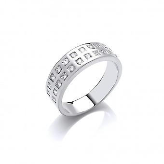 Cavendish French Silver and Double CZ Row Band Ring