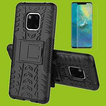 Für Huawei Mate 20 Hybrid Case 2teilig Schwarz + 0,26 mm 2.5D H9 Hartglas Tasche Hülle Cover Hülle