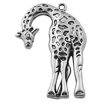 Pakke 5 x Antikk sølv tibetanske 46mm Giraffe sjarm/anheng HA08005