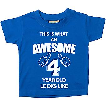 This is What An Awesome 4 Year Old Looks Like Blue Tshirt
