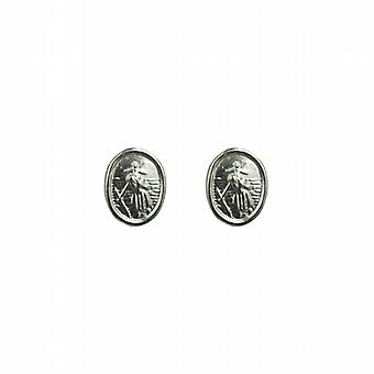 Silver 8x6mm oval St Christopher Stud örhängen