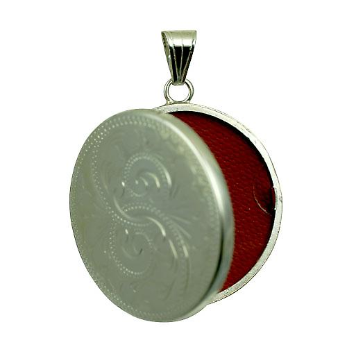 Silver 29mm hand engraved flat round Locket