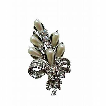 Sleek Pearls Cubic Zircon Brooch for Bouquet Brooch